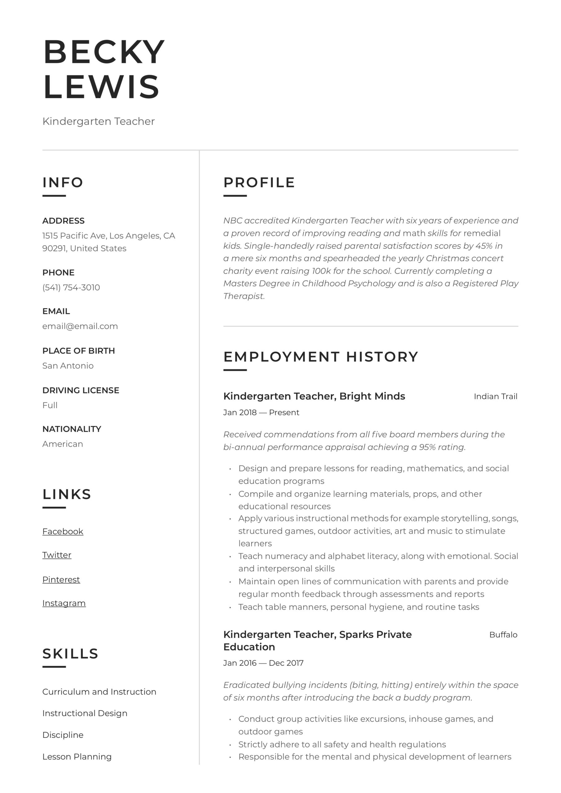 kindergarten teacher resume writing guide examples skills architecture firm under review Resume Kindergarten Teacher Skills Resume