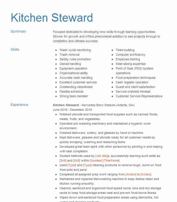 kitchen steward resume example resumes livecareer format for service fraud analyst job Resume Resume Format For F&b Service Steward