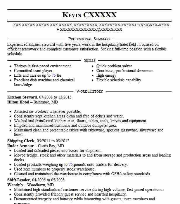 kitchen steward resume example resumes livecareer format for service good self Resume Resume Format For F&b Service Steward