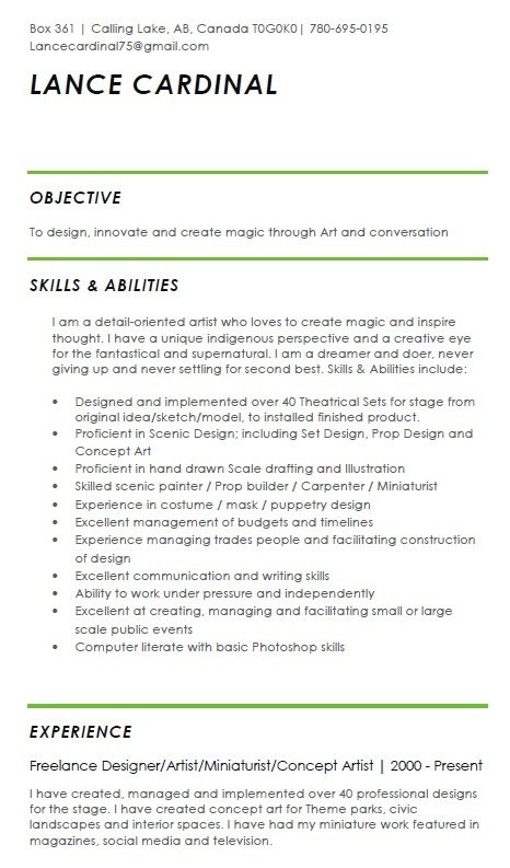 lance cardinal creations set designer resume objective electrician skills oracle 10g new Resume Designer Resume Objective