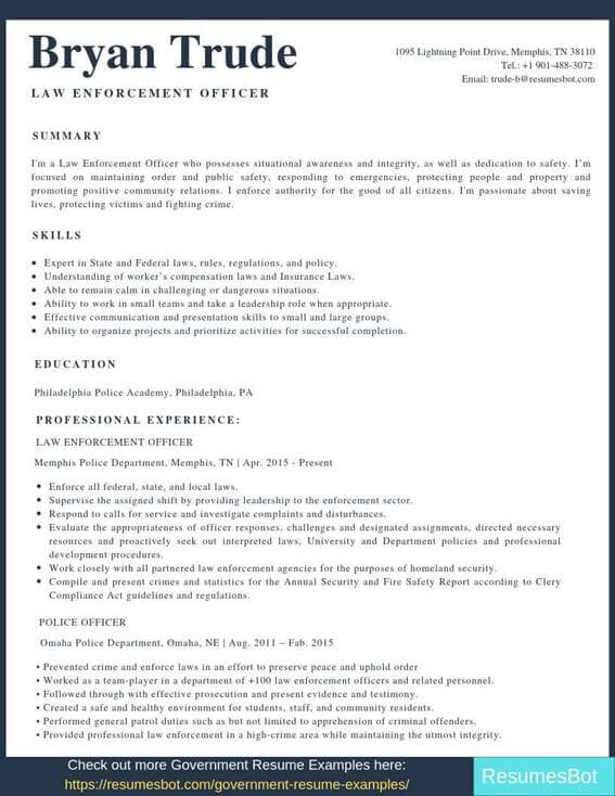 law enforcement resume samples templates pdf resumes bot example of for police officer Resume Example Of Resume For Police Officer