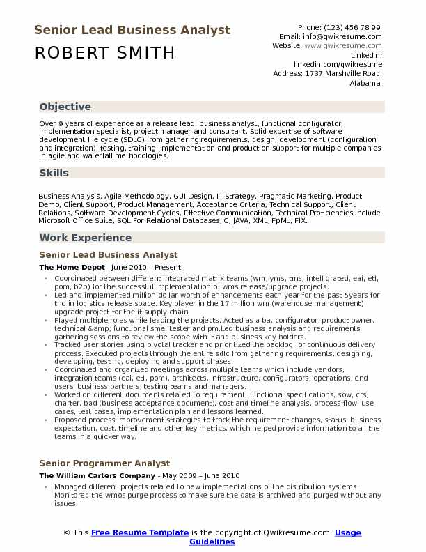 lead business analyst resume samples qwikresume sample for experienced years pdf work Resume Sample Resume For Experienced Business Analyst 2 Years