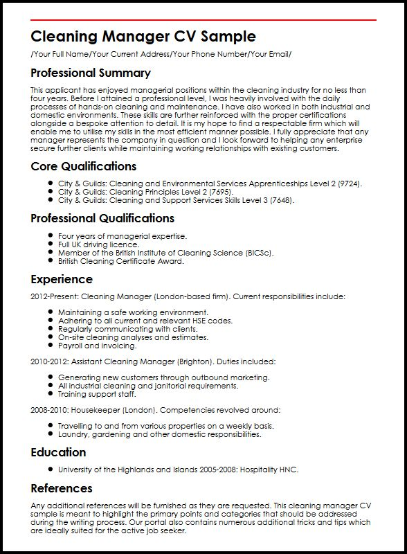 lead confidently with our manager cv example myperfectcv cleaning description for resume Resume Cleaning Description For Resume
