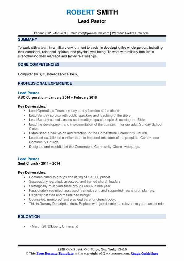 lead pastor resume samples qwikresume church ministry templates pdf certified writer Resume Church Ministry Resume Templates
