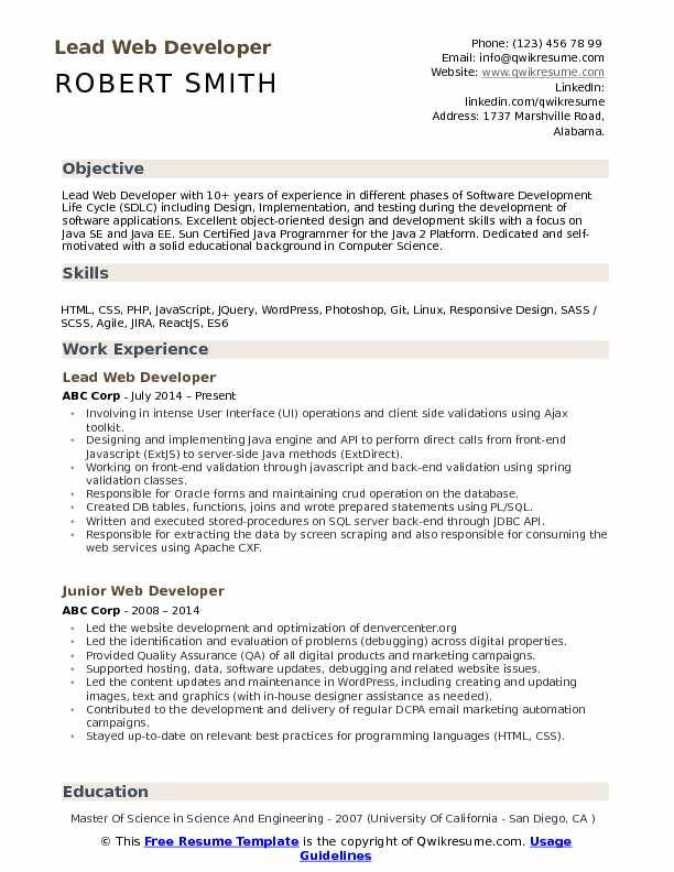 lead web developer resume samples qwikresume for backend process pdf information Resume Resume For Backend Process