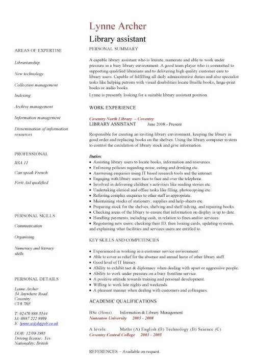 library assistant cv sample entry level resume for pic template order clerk pointers Resume Entry Level Resume For Library Assistant