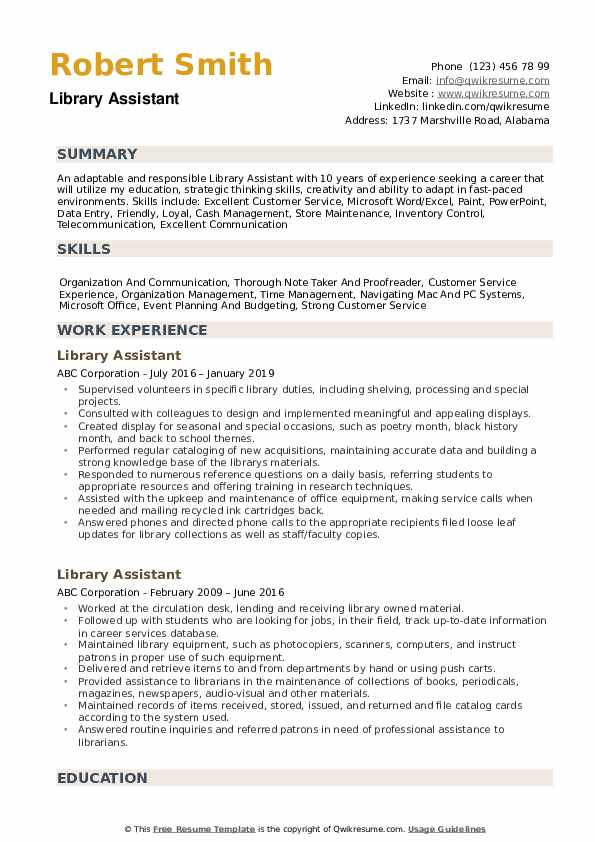 library assistant resume samples qwikresume entry level for pdf estimator project manager Resume Entry Level Resume For Library Assistant