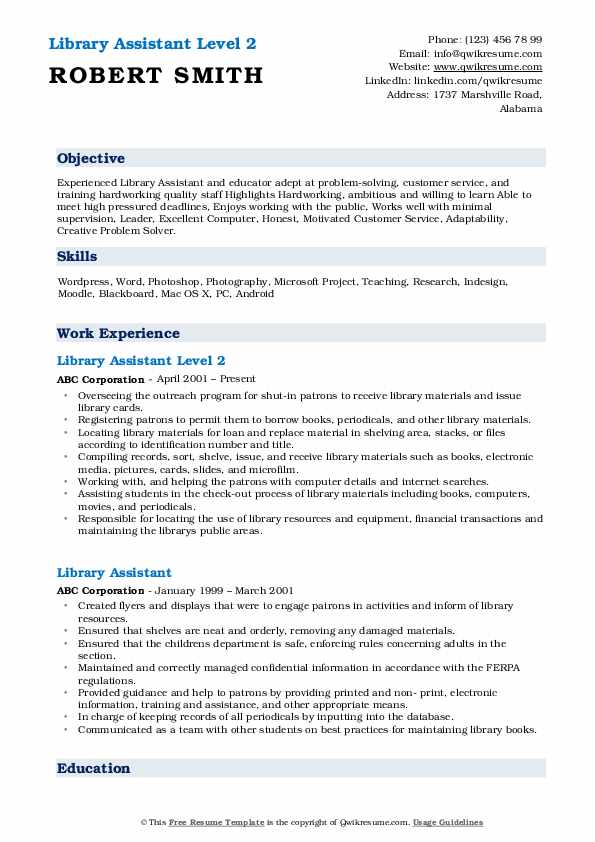 library assistant resume samples qwikresume entry level for pdf professional writing Resume Entry Level Resume For Library Assistant