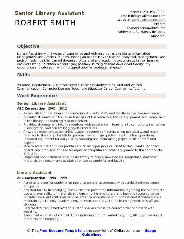 library assistant resume samples qwikresume entry level for pdf summary examples customer Resume Entry Level Resume For Library Assistant