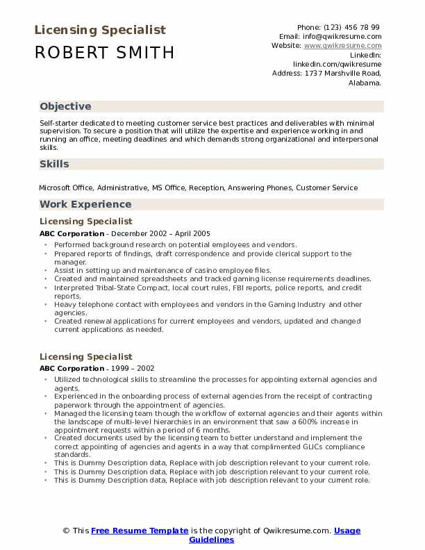 licensing specialist resume samples qwikresume certificates and licenses on pdf usajobs Resume Certificates And Licenses On Resume