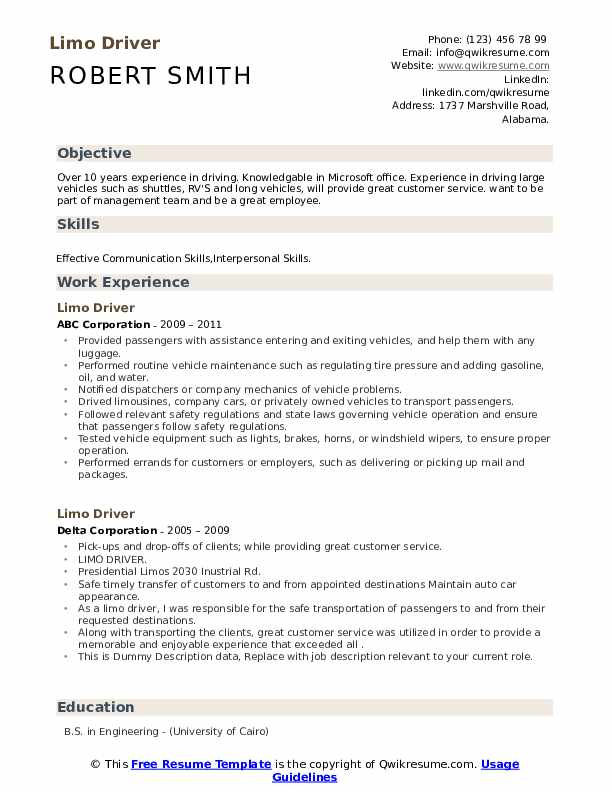 limo driver resume samples qwikresume limousine pdf actually free builder technician Resume Limousine Driver Resume