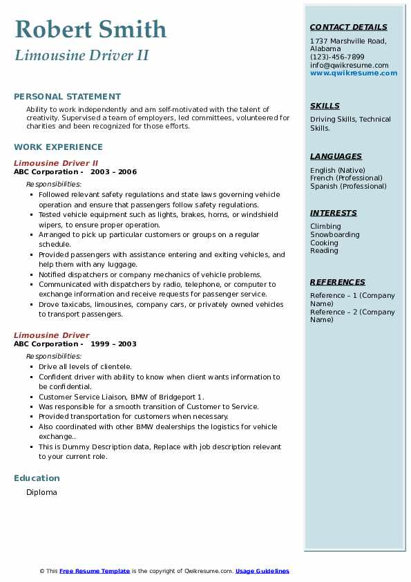 limousine driver resume samples qwikresume chauffeur pdf assistant buyer examples medical Resume Limousine Chauffeur Resume