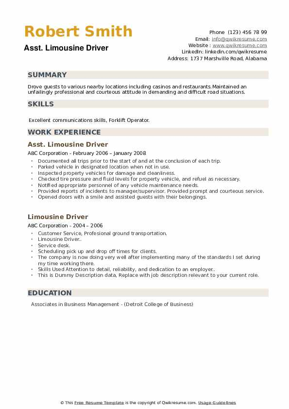 limousine driver resume samples qwikresume chauffeur pdf microservices sample assistant Resume Limousine Chauffeur Resume
