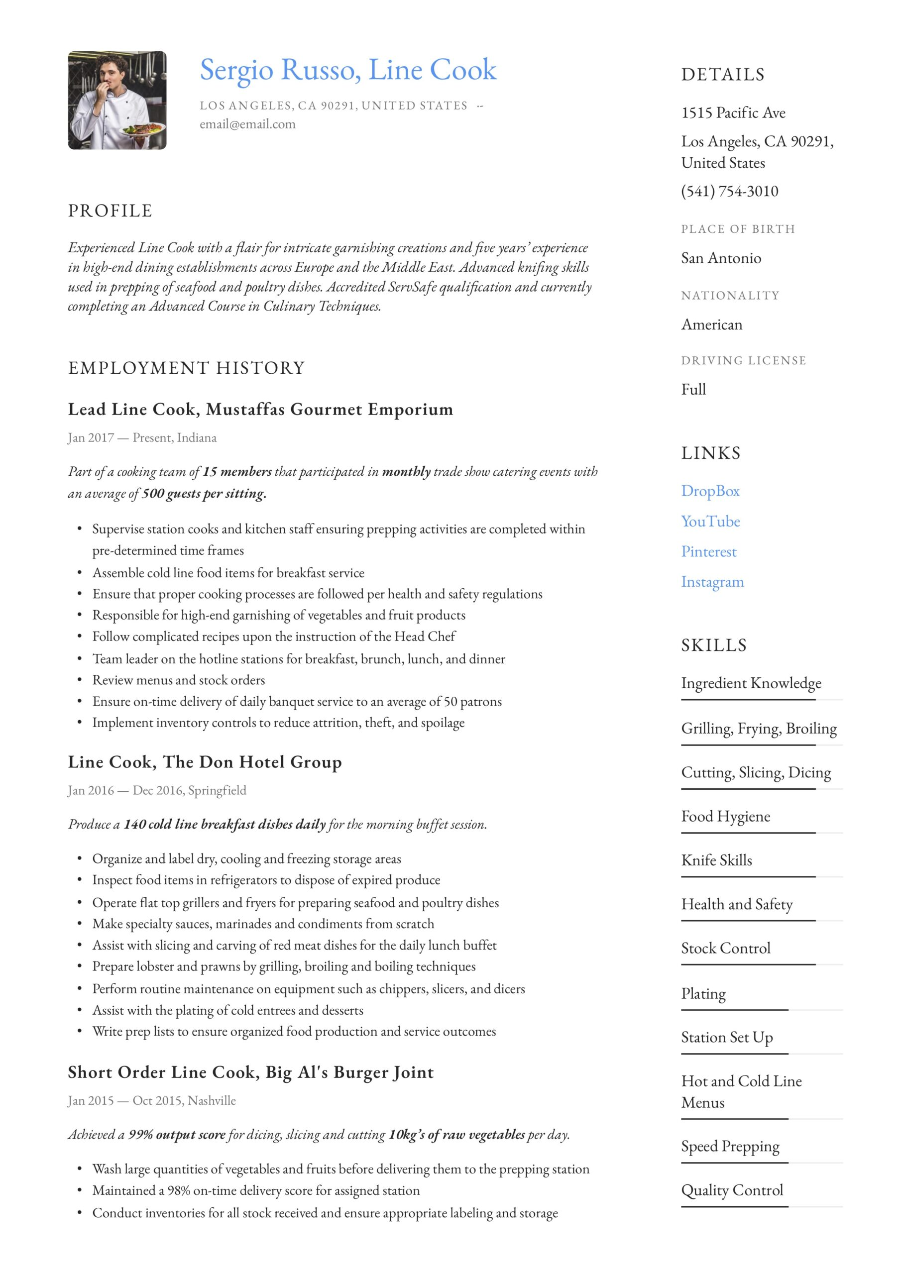 line resume writing guide examples prep job description jacksonville services product Resume Prep Cook Resume Job Description