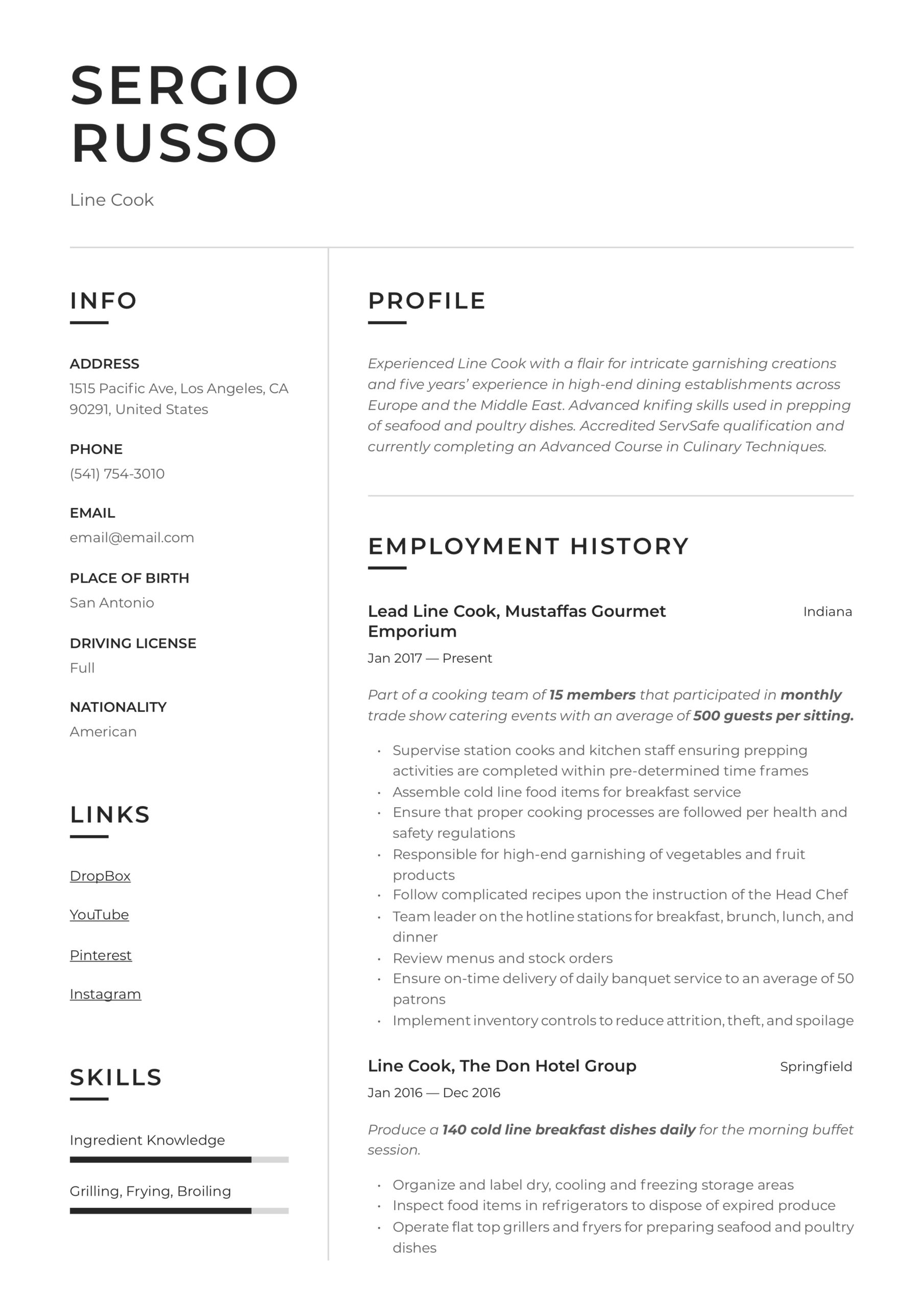line resume writing guide examples skills core for best operations analyst general Resume Line Cook Resume Skills