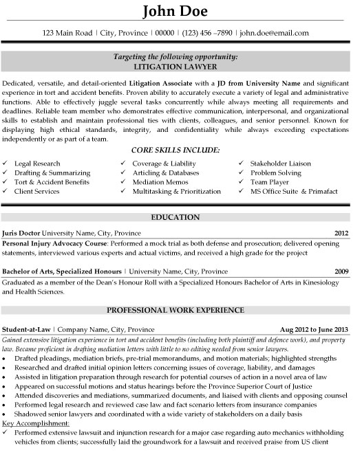litigation lawyer resume sample template attorney student chart graduate school help Resume Litigation Attorney Resume Sample