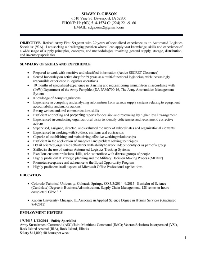 logistics management resume for shawn december army first sergeant art director full time Resume Army First Sergeant Resume