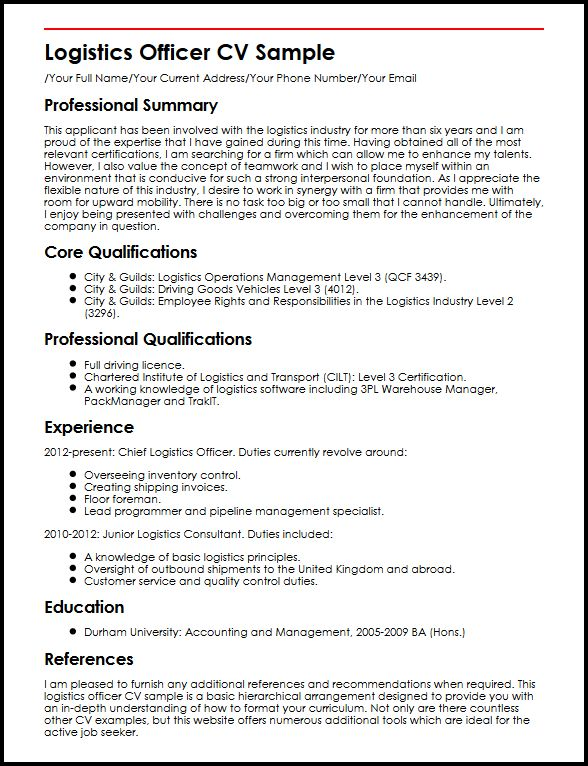 logistics officer cv example myperfectcv responsibilities examples resume sample delivery Resume Responsibilities Examples Resume