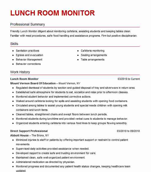 lunch room supervisor resume example plainfield central high school sample out of the box Resume Lunch Supervisor Resume Sample