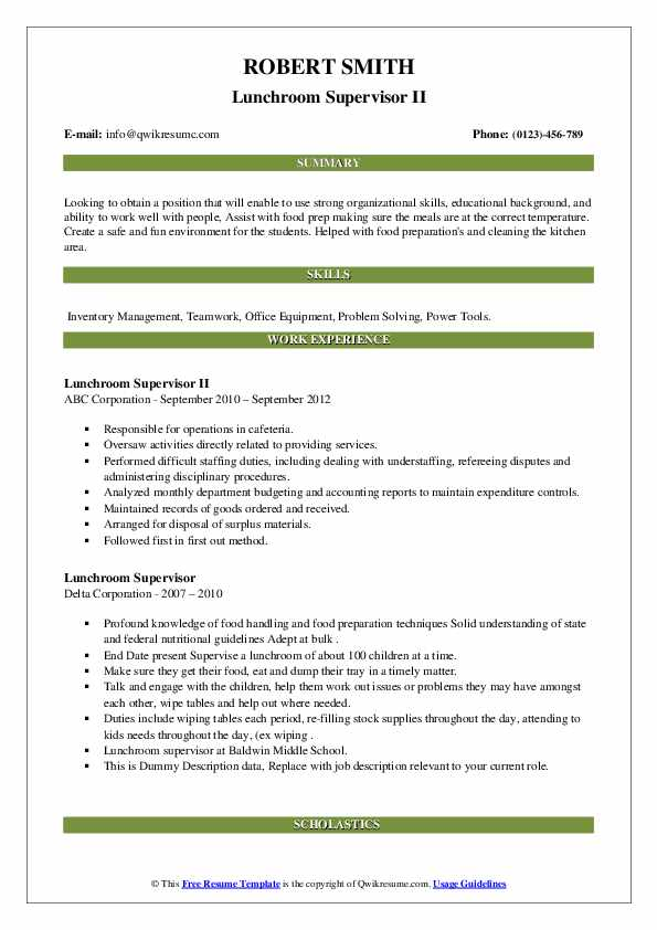 lunchroom supervisor resume samples qwikresume lunch sample pdf out of the box one job Resume Lunch Supervisor Resume Sample