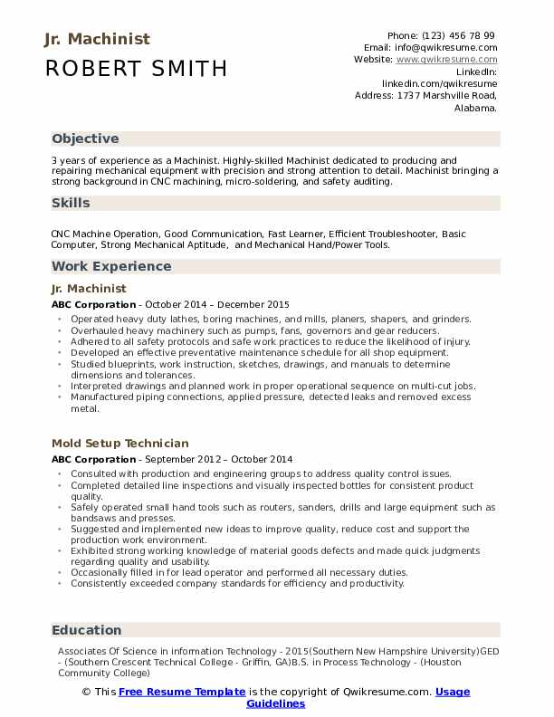 machinist resume samples qwikresume conventional pdf free healthcare writing services Resume Conventional Machinist Resume