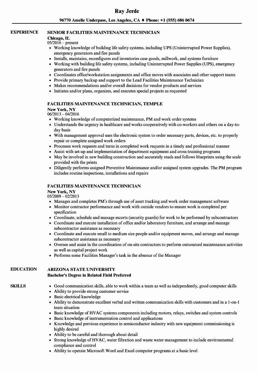 maintenance job description resume luxury facilities technician samples in security Resume Facility Maintenance Resume