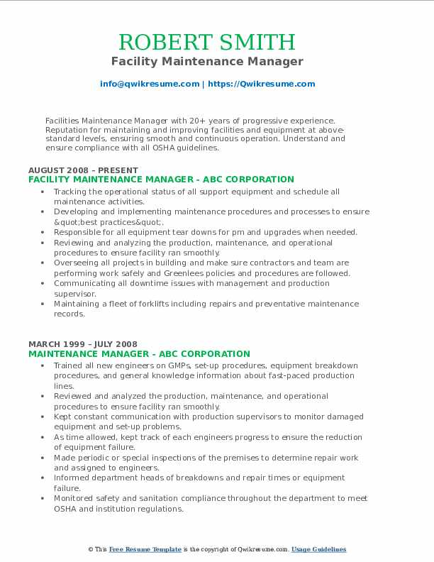 maintenance manager resume samples qwikresume facility pdf another word for manage on Resume Facility Maintenance Resume