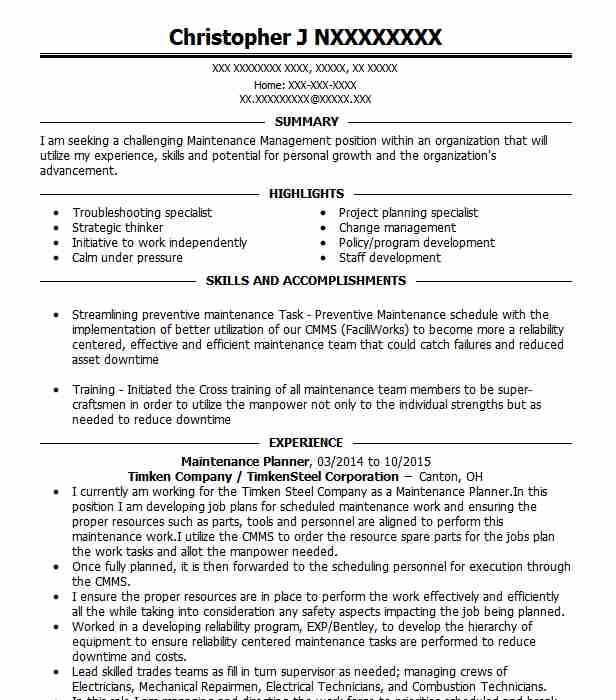 maintenance planner resume example bp whiting refinery crown point scheduler special Resume Maintenance Scheduler Resume