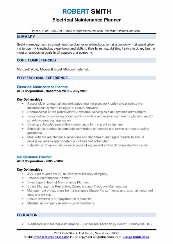 maintenance planner resume samples qwikresume scheduler pdf catering objective examples Resume Maintenance Scheduler Resume