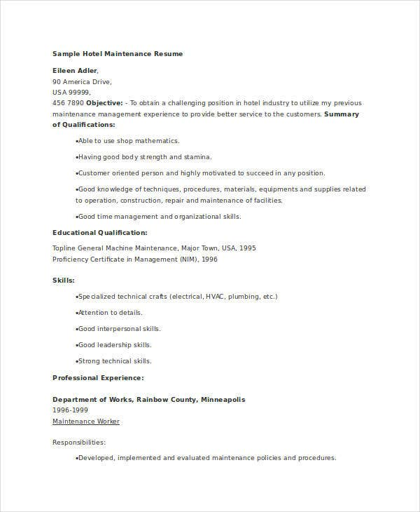 maintenance resume free word pdf documents premium templates facility hotel converter Resume Facility Maintenance Resume