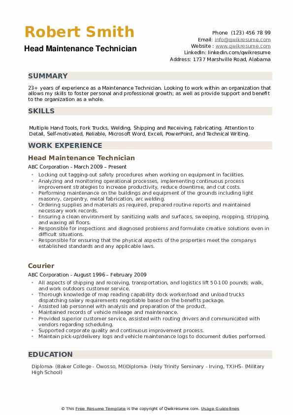 maintenance technician resume samples qwikresume man objective pdf music for out of state Resume Maintenance Man Resume Objective