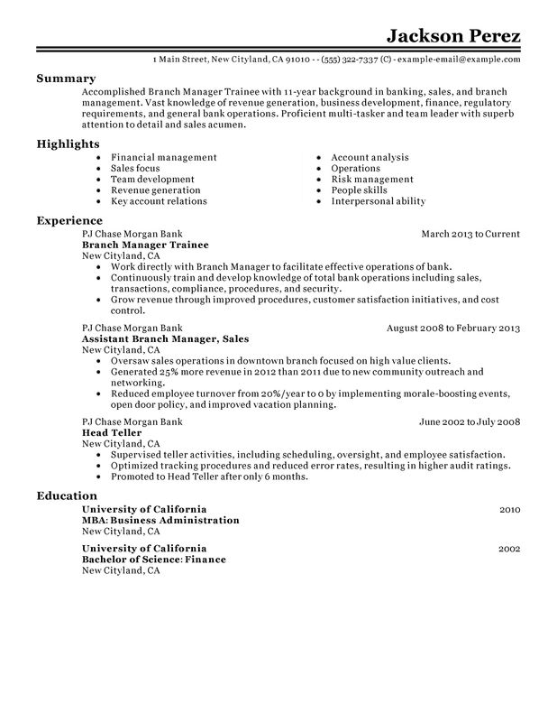 manager trainee resume examples free to try today myperfectresume assistant job Resume Assistant Branch Manager Job Description Resume