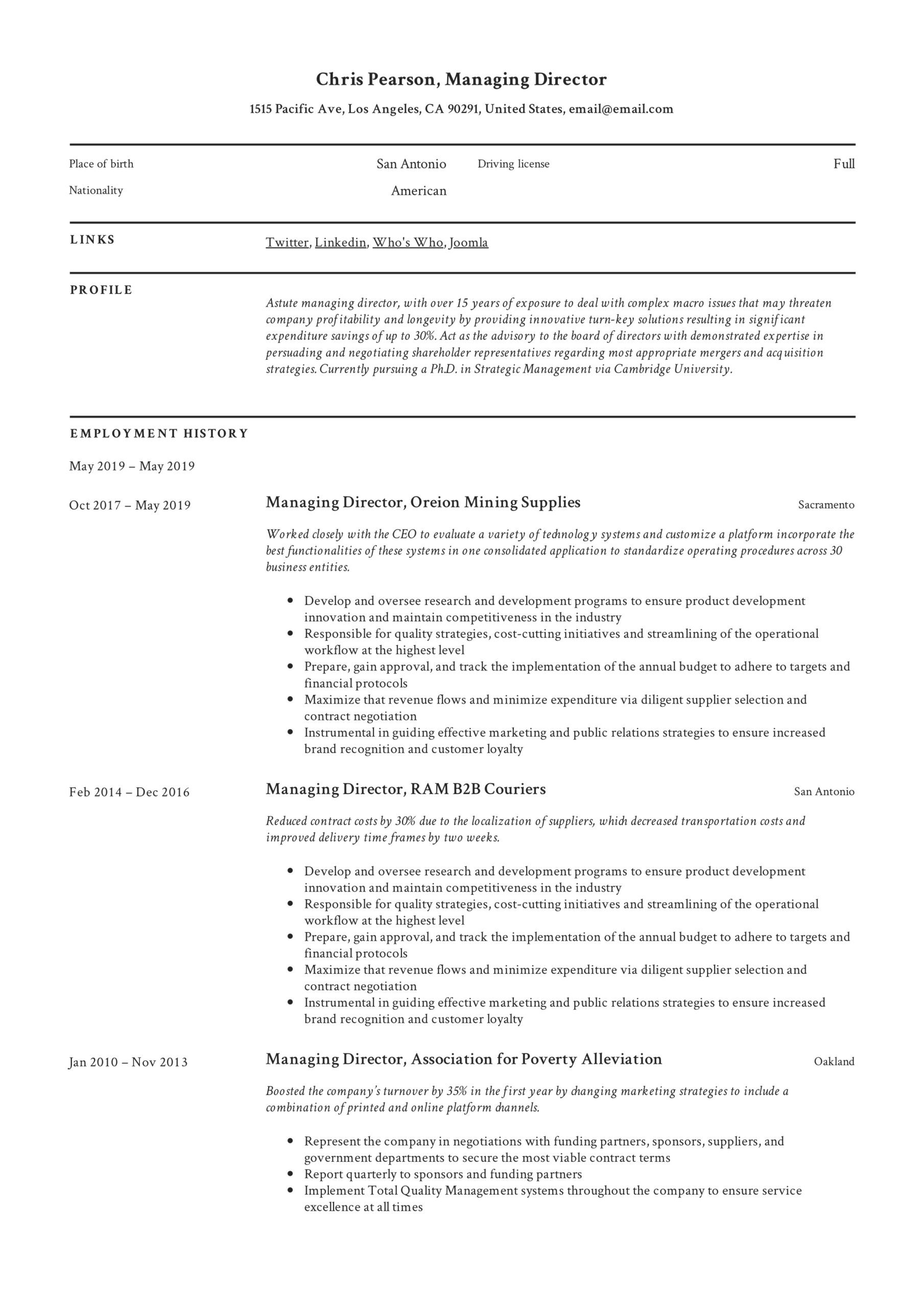 managing director resume writing guide examples pdf for position example and linkedin Resume Resume Examples For Director Position