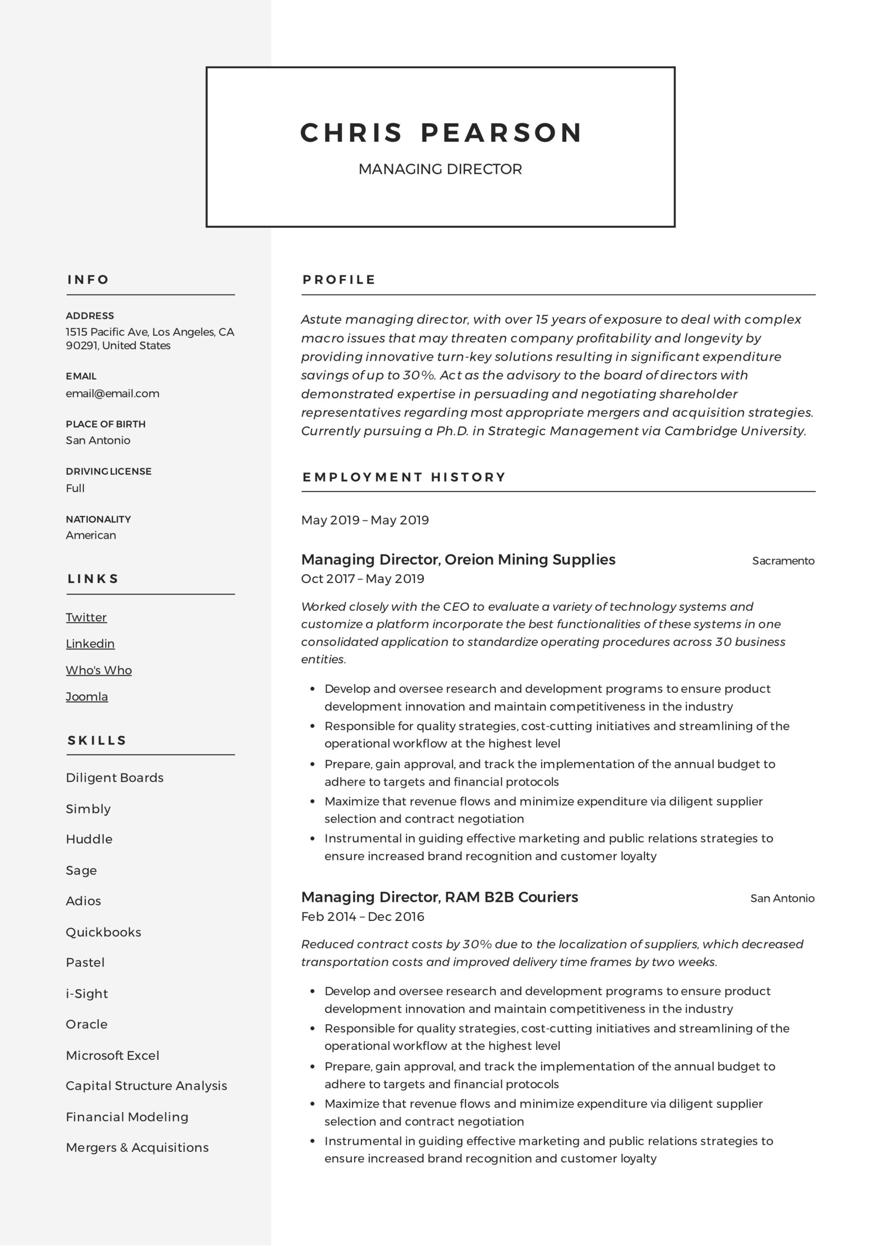managing director resume writing guide examples pdf for position example smart xfinity Resume Resume Examples For Director Position
