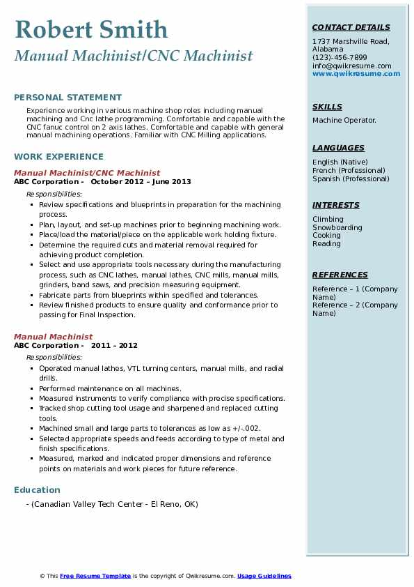 manual machinist resume samples qwikresume conventional pdf writing powerpoint high Resume Conventional Machinist Resume