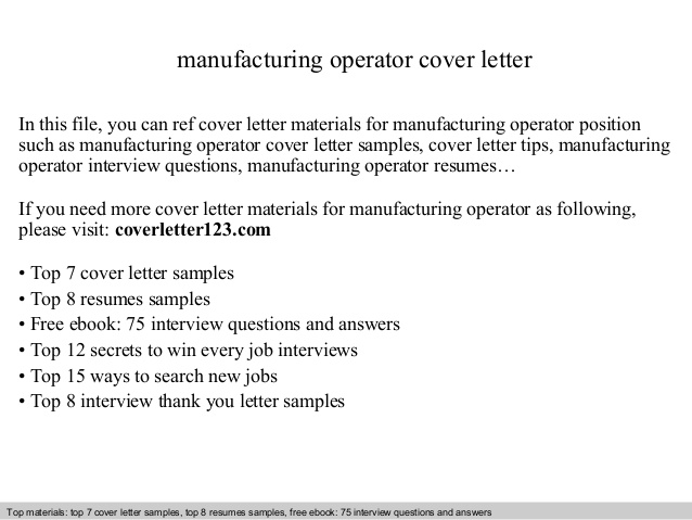 manufacturing operator cover letter production resume sample for medical technologist Resume Production Operator Resume Cover Letter