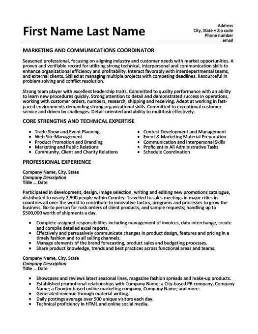 marketing and communications coordinator resume template premium samples example Resume Communication Resume Examples