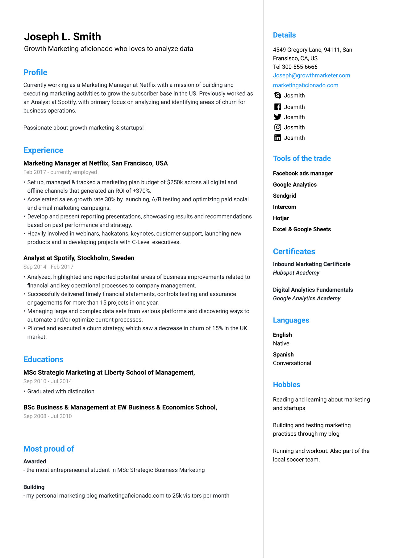 marketing manager resume example guide jofibo examples front office format social Resume Manager Resume Examples 2020