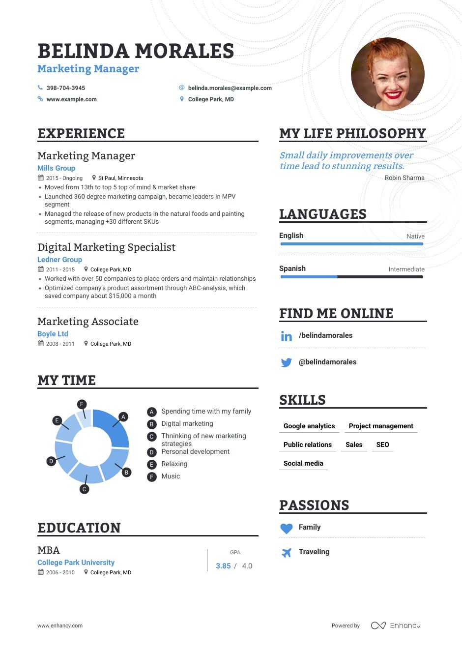 marketing manager resume samples step by guide for enhancv same job different company web Resume Marketing Manager Resume