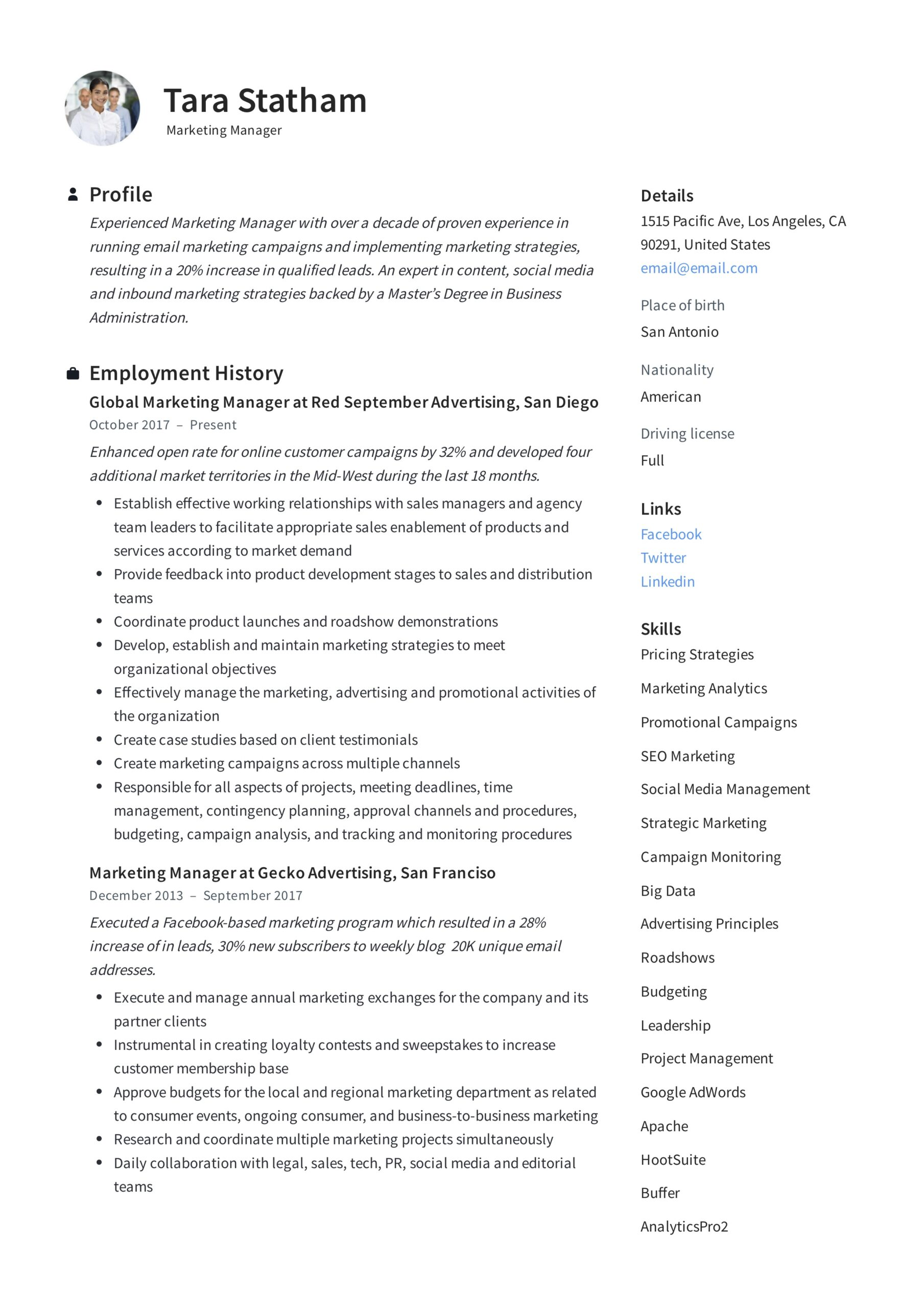 marketing manager resume writing guide templates tara statham moderno consultation Resume Marketing Manager Resume