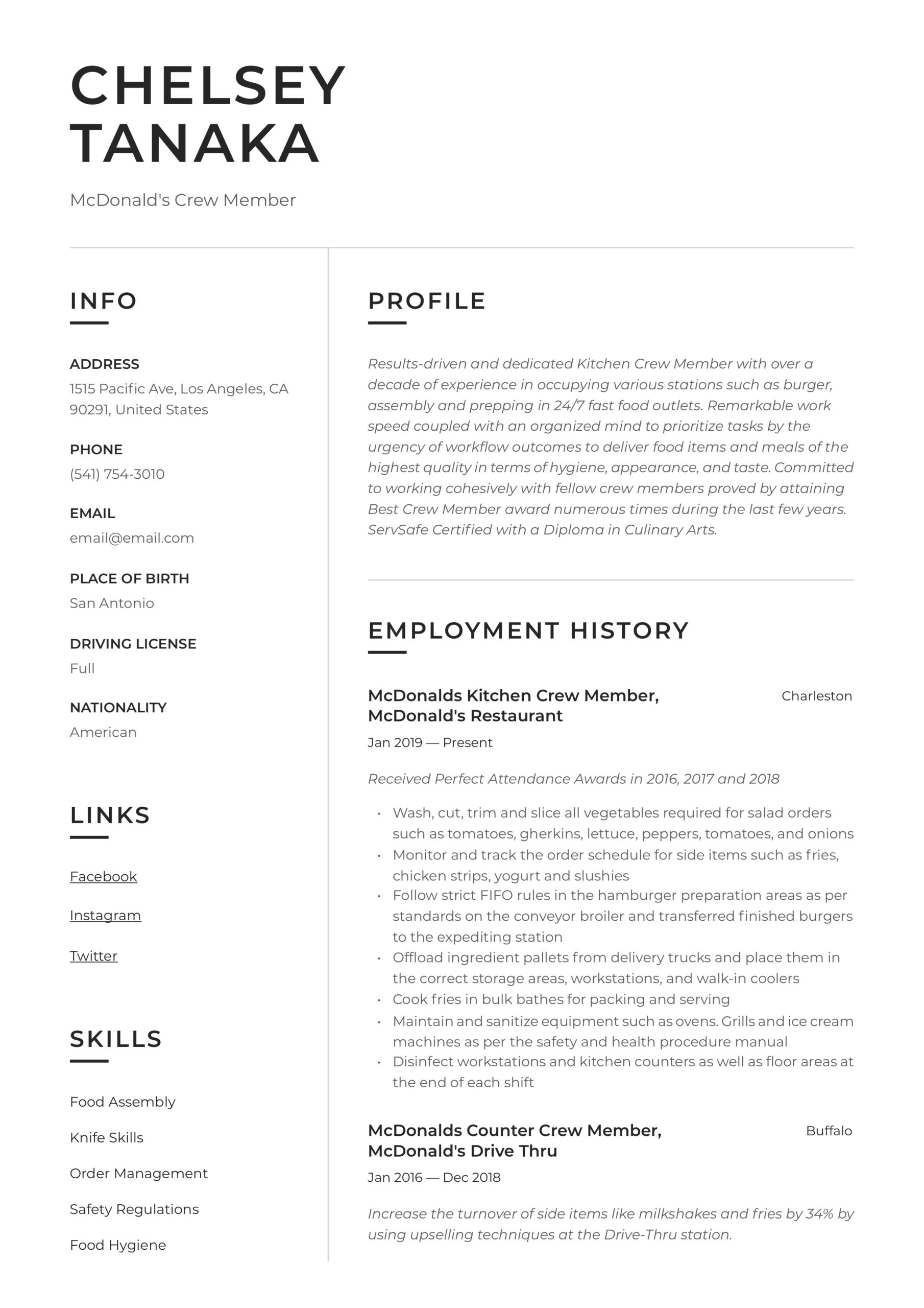 mcdonalds crew member resume writing guide examples trainer environmental compliance Resume Mcdonalds Crew Trainer Resume