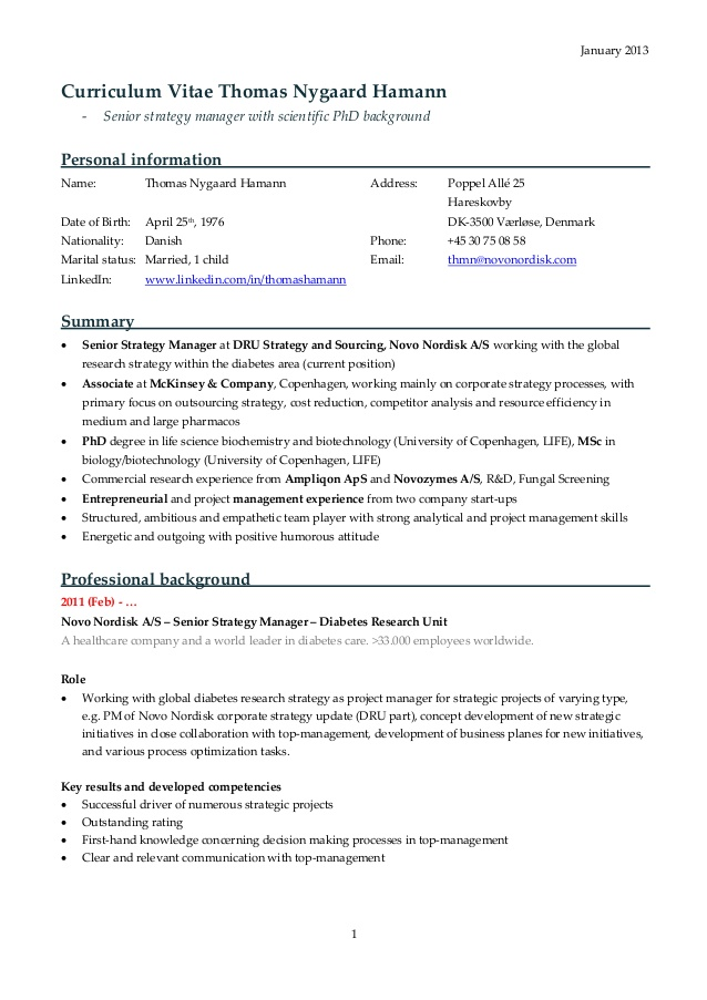 mckinsey resume sample december consulting examples cv nygaard hamann latest format for Resume Consulting Resume Examples Mckinsey