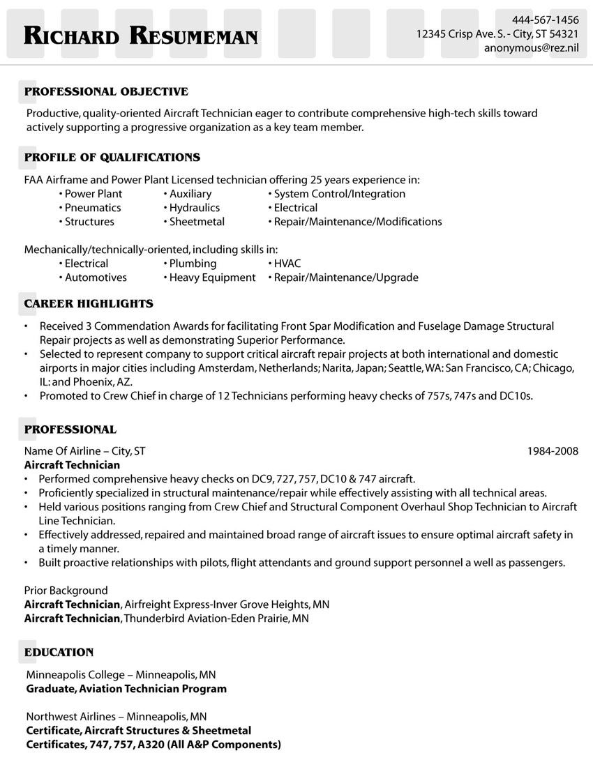 mechanic resume examples skills education airframe and powerplant objective for customer Resume Airframe And Powerplant Resume Examples