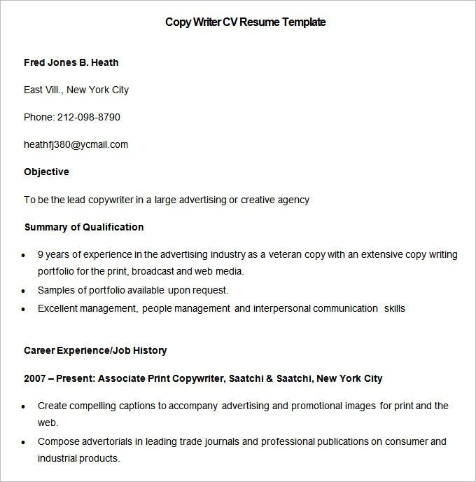 media resume template free samples examples format premium templates copy of sample Resume A Copy Of A Resume Format