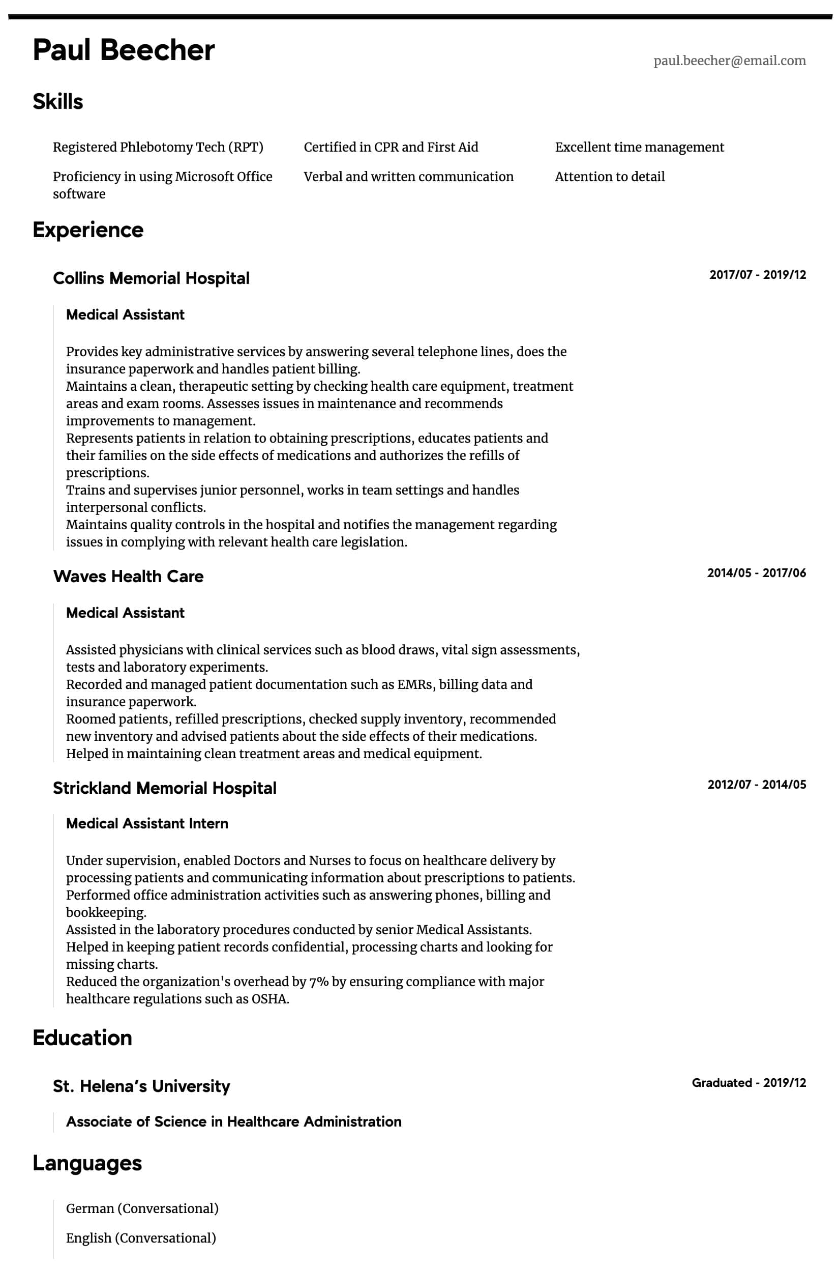 medical assistant resume samples all experience levels objective for field intermediate Resume Resume Objective For Medical Field