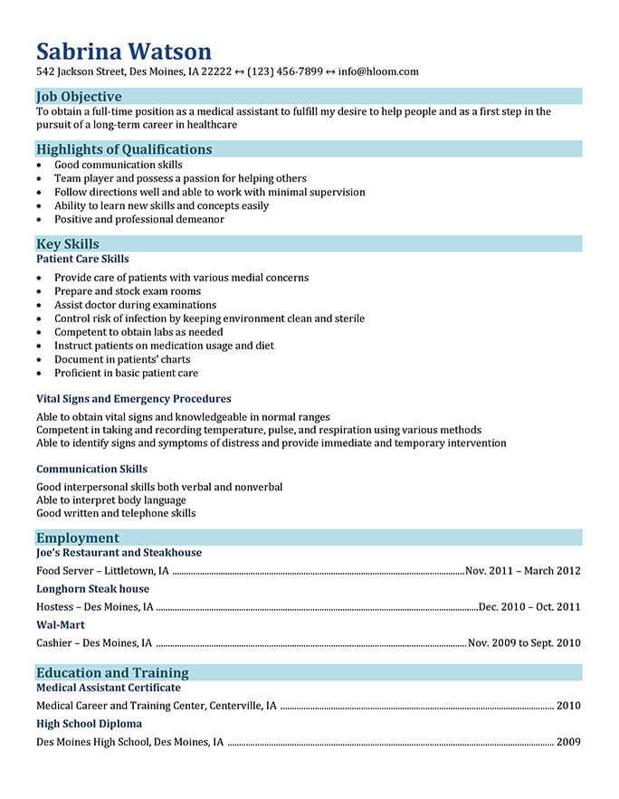 medical assistant resume templates and job tips hloom objective for field functional Resume Resume Objective For Medical Field