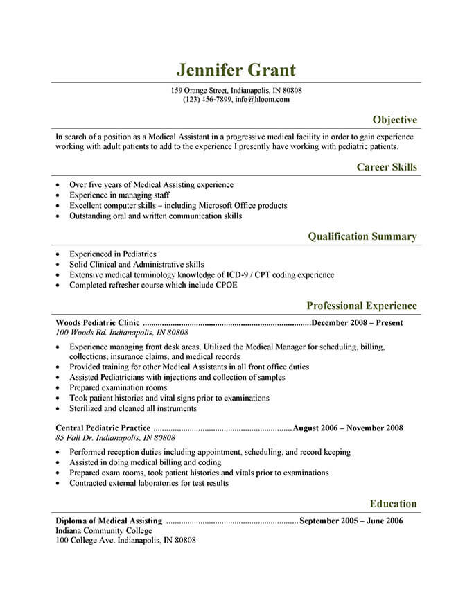 medical assistant resume templates and job tips hloom objective for field pediatric Resume Resume Objective For Medical Field