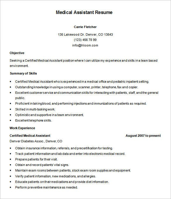 medical assistant resume templates pdf free premium sample of certified mla style example Resume Sample Resume Of A Medical Assistant