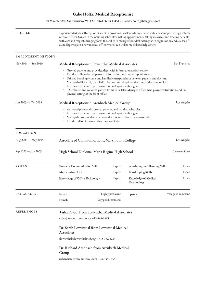 medical receptionist resume examples writing tips free guide io sample for secretary Resume Sample Resume For Medical Secretary Receptionist
