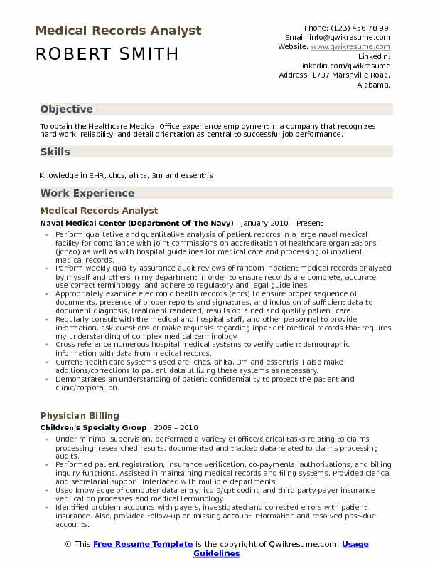 medical records analyst resume samples qwikresume objective for field pdf coach scam Resume Resume Objective For Medical Field
